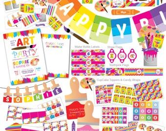 Art Party Invitation, Art Party Invite, Rainbow Art Party, Paint Party, Paint Party Invitation, Paint Party invite, Rainbow Art Party invite