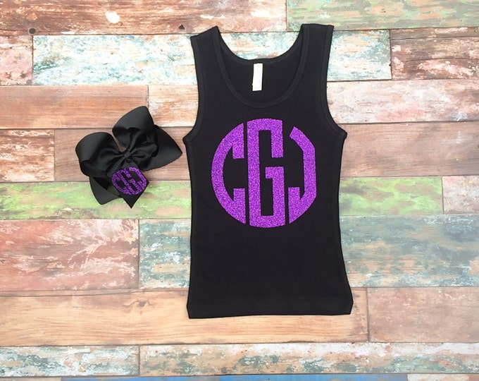 Monogrammed Tank Top and Hair Bow set, Monogrammed Gifts, Cheer Camp Tank Top hair bow set, Monogrammed gifts, girl's, women's, sizes