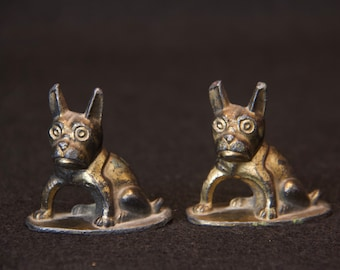 Pair of Vintage Art Deco cast metal paperweights French Bulldog or Boston Terrier