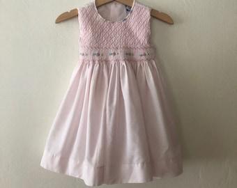 Vintage Toddler Girls Hand Smocked Dress, Vintage Childrens Dress Size 18 Months