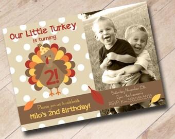 Our Little Turkey Birthday Invitation - Fall First Birthday Autumn Pumpkin Halloween Theme