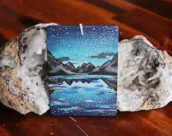 Mini Acrylic Painting | Mountains Lake and Galaxy Sky
