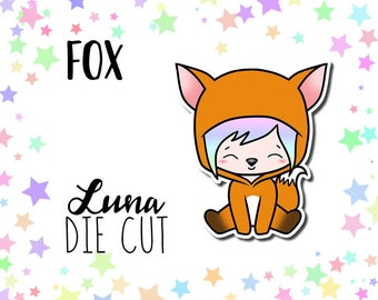 Fox Luna DIE CUT - Traveler's Notebook Scrapbook Fox Die Cut Planner Kawaii Character Doodle