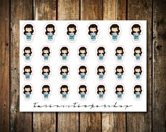 Hydrate - Cute Brunette Girl - Functional Character Stickers