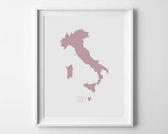 Italy Map Print, World Map Print, Printable Italy Poster, Country home decor, Travel decor, map printable, Digital print, Instant Download