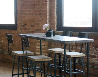 Industrial Bar Height Or Counter Table Made With Reclaimed Wood Iron Pipe Legs