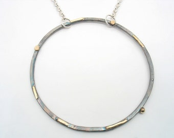 Sterling silver and solid gold large circle of life, long pendant can be wear as layers, matching earrings for a sophisticated look.One size