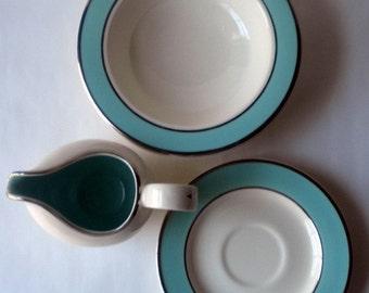 Vintage Serving Set for Two Bowls Saucers and Creamer