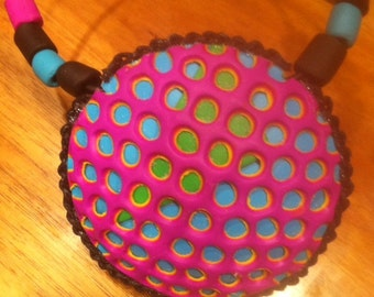 Polymer Clay Pendant, Hollow Fimo Pendant, Psychedelic OOAK Jewellery