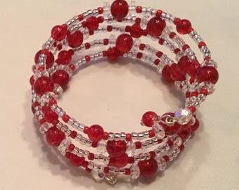 Red beaded memory bracelet