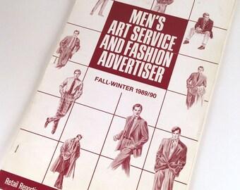 Vintage 80s, Mens Fashion Illustration Book, Men's Art Service Fashion Advertiser, Fall/Winter, 89/90, Vintage Advertising, New York, 56 pp.