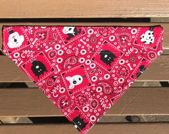 Red Paisley Dog Over-the-Collar Bandana