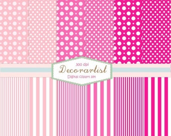ON SALE Scrapbook Paper, no.59-PINK Polkadot and stripe Collection, scrapbooking, card, 12 digital sheets