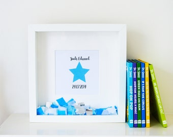 Personalised 'Little Star' New Baby Gift, Christening Gift, Congratulations, Confetti Frame