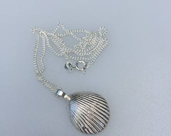 Chunky Shell Pendant, Sterling Silver Sand Cast with a Sterling Silver Curb Chain