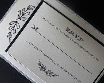Glitter Invitation, Wedding Invitation, Bridal Shower Invitation, Silver Wedding Invitation, 50th Birthday Invitation