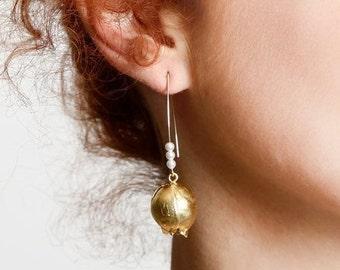 Pomegranate jewelry Pomegranate  Earrings Pomegranate Gold  Hook Earrings, Jewish Jewelry, Long Pomegranate Pearl Earrings, Fashion Jewelry