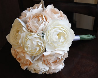 Paper Bridal or Bridesmaid Bouquet - White & Blush Peonies - Spring Summer Wedding Bouquet - 8 inch - 10 inch - 12 inch