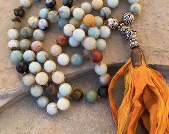Amazonite silk sari tassel necklace 10mm