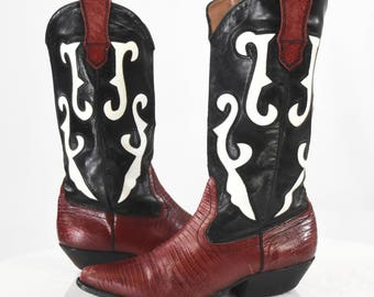 90's Vintage Women's 7.5 Rockabilly Cowboy Boots + Nine West + Embroidered