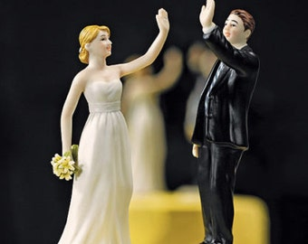 High Five Bride and Groom Couple Funny Wedding Cake Topper Hand Painted Porcelain Jenuine Crafts
