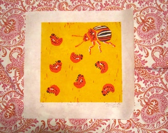 Potato Bugs - Linocut/Relief Print