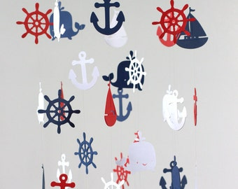 Rustic Burlap Nautical Nursery Mobile LARGE in Navy, Red & White -Baby Mobile, Baby Shower Gift