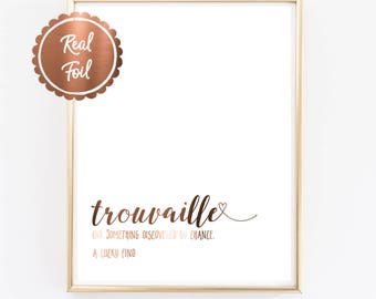 French quote // copper foil print // trouvaille // a lucky find // copper heart // french // copper // quotes in French // real copper foil