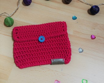 Handmade Raspberry Pink Crochet Clutch / Pink Handbag / Magenta Pouch