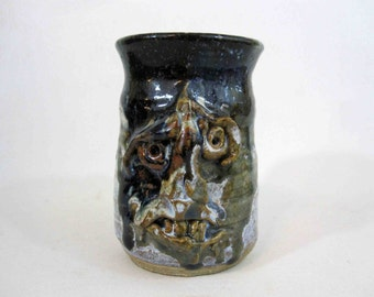 Vintage Stoneware Studio Pottery Face Mug with Grotesque Expression - Signed.