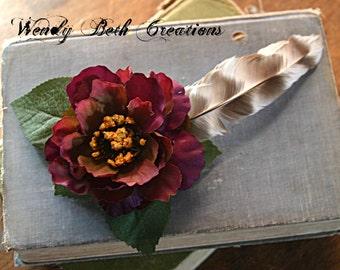 Plum Pop Hair Clip Fascinator - Belly Dance, Wedding, Pin Up, Boho, Purple, Hair Garden, Cruelty Free Feather