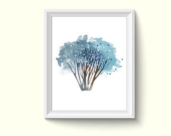 Tree Watercolor Painting Poster Art Print P419