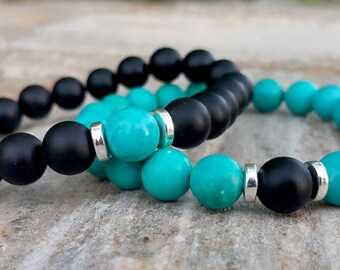 Matching Couple Bracelets Turquoise Couple Bracelets Black and Blue Bracelets Stacking Bracelets for Couples  Protection Bracelets Set