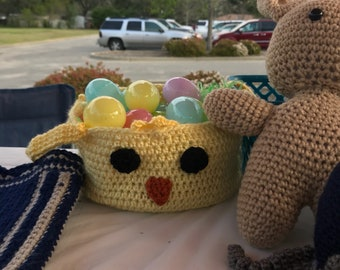 Crochet Easter Basket -chick or bunny - comes in custom colors