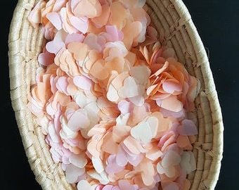 Summer Throwing and table decor confetti Wedding/Birthday and many  more Pink / Peach / Ivory heart confetti