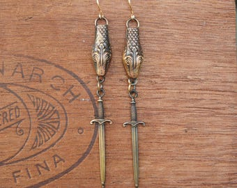 Snake and Sword Earrings French Brass French Findings Stampings