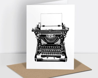 Typewriter greetings card (risograph printed)