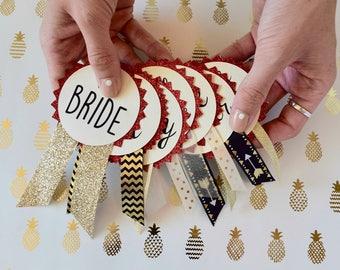 Red Glitter Bachelorette Party Pins, Bachelorette Party Decorations