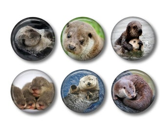 Otter pinback button badges or fridge magnets , fridge magnet set