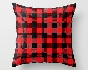 Red Lumberjack Pillow Cover, buffalo plaid pillow, men decor, mountain decor, man cave decor, canadiana decor, rustic pillow, fall pillow _M