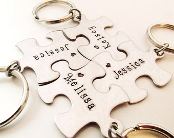 Stamped Puzzle Keychains - Bridesmaid Keychains - Set of 8 - Personalized Bridesmaid Gift - Best Friend Keychains