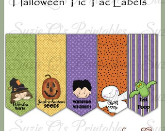 Halloween Tic Tac Labels, set of 5 - US and International size sheets - Digital Printable - Immediate Download