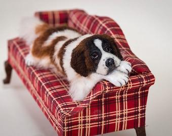Dollhouse Miniature Big Saint Bernard Couch Potato Dog Artist Sculpted Furred OOAK Dog 1:12 Scale