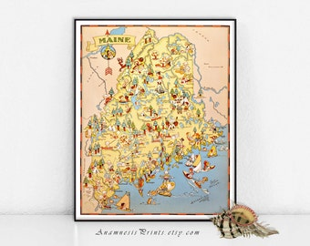 MAINE MAP PRINT - pictorial map of Maine for framing and gifting - illustrated by Ruth Taylor White - vintage home decor - fun wall art