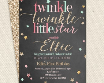 Twinkle Twinkle Little Star Girl Birthday Invitation