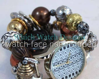 Mixed Metals.. Funky Cool Silver, Gold, Gunmetal and Brass Interchangeable Beaded Watch Band