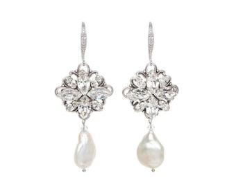 Ivory Freshwater Pearl Drop Earrings , Wedding Earrings, Bridal Crystal Earrings , Swarovski Crystal Pearl Earrings, Vintage Wedding Jewelry