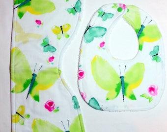 Baby Bib & Burp Cloth Set - Watercolor Butterflies