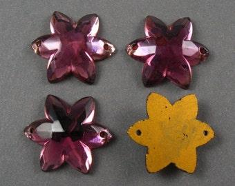 Vintage Purple Flower Glass Sew Ons - 4