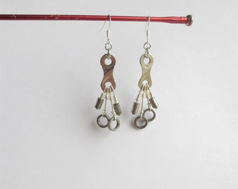 Deconstructed Bicycle Chain Link Earrings , Recycled Jewelry